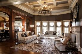 this picture shows a living room rich in wooden tones and