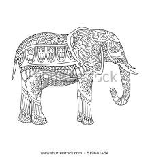 Indian Elephant In Traditional Asian Style Ornate On Lace Background For Antistress Relax Adult