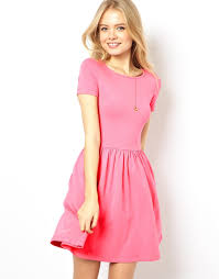 asos skater dress with slash neck and short sleeves in pink lyst