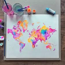 Neon Watercolor World Map Art