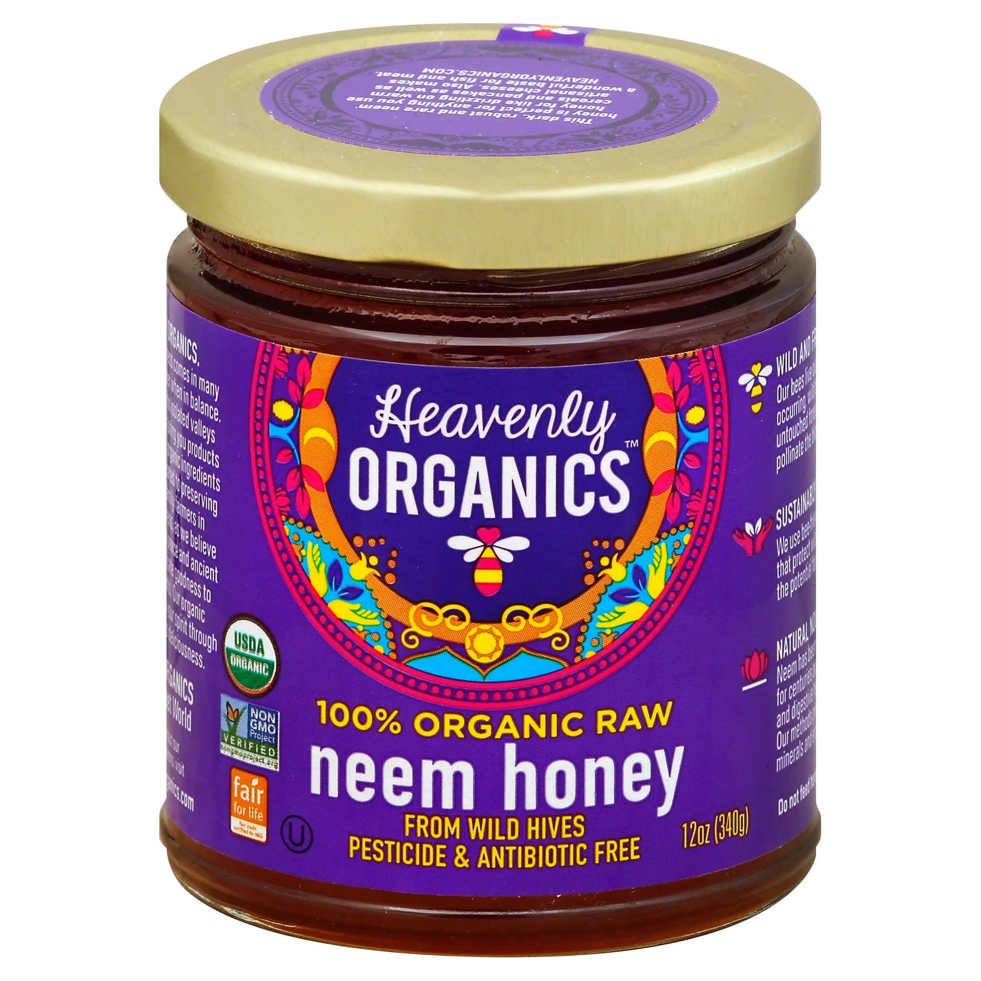 Heavenly Organics 100% Organic Raw Neem Honey - 12oz
