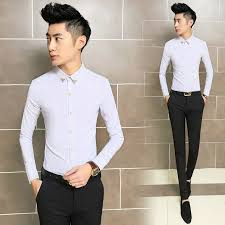 New Design Men Slim Fit Shirts Fashion Brand Mens Casual Dress Quality Gentleman Clothes Camisa Social Shirt Black White In From