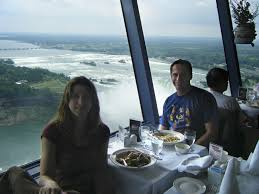 and i at the revolving dining room at the skylon tower with the