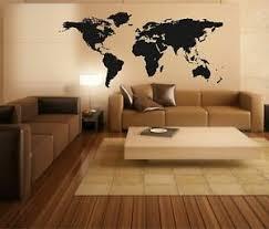 details zu wandtattoo weltkarte world map wohnzimmer büro wandaufkleber folie schwarz deko