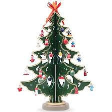 125 Wooden Tabletop Christmas Tree With Miniature Ornaments