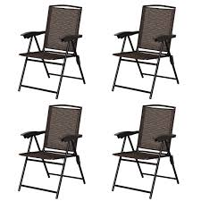 100 Folding Chairs With Arm Rests Costway Costway 4PCS Sling Steel Rest Patio