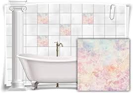 medianlux fliesen aufkleber fliesen bild vintage nostalgie blumen pastell rosa beige bad wc deko 12 stück 15x15cm m13m31 88243
