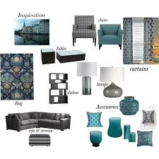 Gray Teal Living Room By Cbrowner On Polyvore