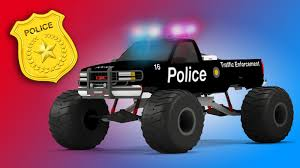 100 Kids Monster Trucks Police Truck 3D Video For Educational Video
