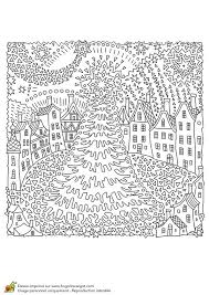 Fairy Tale Fir Tree Old Medieval Town Houses T Shirt Print Coloring Book Page For Adults And Children