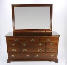 ethan allen georgian court triple dresser with mirror in cherry