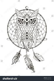 Coloring Book For Adult Dream Catcher Owl Vector Illustration Isolated Retro Banner Invitation