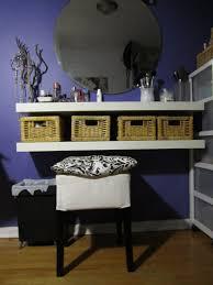 Bedroom Vanity With Mirror Ikea by Diy Vanity Table Using Floating Shelves U0026 Baskets Diy