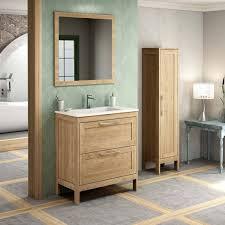 landhaus badezimmermöbel set mit hochschrank spiegel tarifa 110 eich