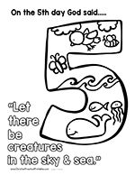 Day 5 Creation Coloring Page