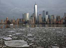 With The Lower Manhattan Skyline As A Background Ice Floats In Hudson River Thursday Jan 11 2018 Seen From Jersey City NJ Temperatures Rose