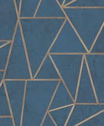 tapete vlies dreiecke blau gold glanz exposure ep3704