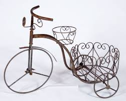 Wrought Iron Trike 2 Circle Planters