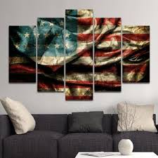 Vintage Windy American Flag Multi Panel Canvas Wall Art