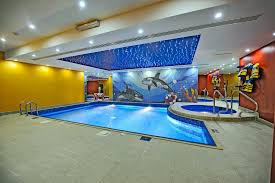 Mesmerizing Nuance Of Indoor Swimming Pool Decorated With Cool Skylight And Funny Wall Pattern