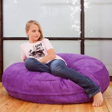 Pretty Girl In Pink Shirt Over Round Purple Bean Bag Chairs For Kidsin Simple Design
