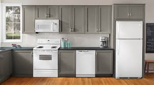 Ideas To Decorate A Kitchen With White Appliances And Gray Painted Cabinets