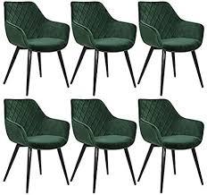 woltu esszimmerstühle bh153gn 6 6er set küchenstühle wohnzimmerstuhl polsterstuhl design stuhl mit armlehne grün gestell aus stahl samt