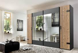 schlafzimmer komplett set 4 tlg stockholm bett 180 kleiderschrank schwebetüren 272 cm nachtkommoden spiegel grau braun weißtanne
