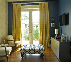 Curtain Ideas For Living Room by Attractive Mustard Curtains With Blue Dark Walls In Purple Living