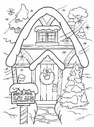 Winter Coloring Pages Santa Clauss House