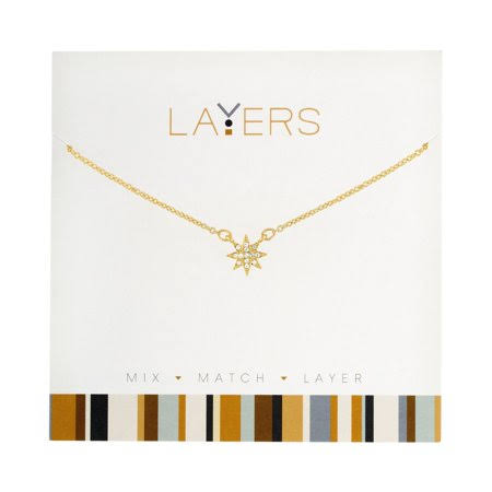 Layers Starburst Charm Necklace in Gold