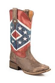 pungo ridge roper mens distressed rebel flag square toe boots