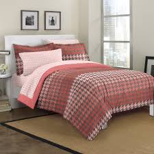 Coral Colored Bedding by Loft Style Houndstooth Mini Bed In A Bag Bedding Set Walmart Com