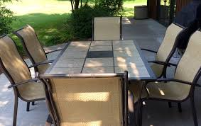 Mainstays Patio Set Red by Mainstays Wesley Creek 7 Piece Tan Outdoor Patio Dining Set Review