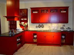 Red Color L Wooden Cabinet With Black Marble Countertop And Stainless Steel Utensils Hooks Wall Built In Plate Storage For Country Kitchen Decoration