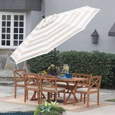 9 Ft Patio Umbrella With Crank by 11 Ft Patio Umbrella In Beige And White Stripe With Tilt And Crank