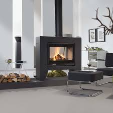 Wood Heating Stove Contemporary Doublesided Metal JULES