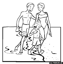 Walking On Beach Coloring Page