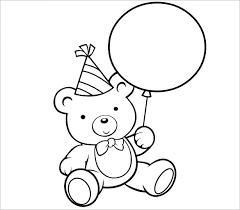 Birthday Bear Preschool Coloring Page
