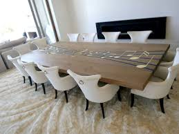 Custom Opus Harker Dining Table With Epoxy Inlays And Brass Note
