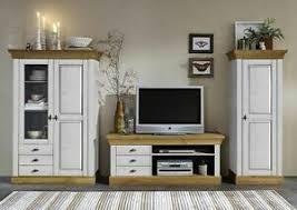 massivholz wohnwand 2farbig weiß kiefer anbauwand wohnzimmer
