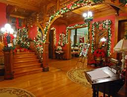 Seiberling Mansion Foyer In Kokomo IN As Decorated For Christmas