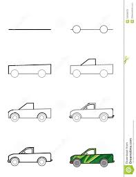 Drawing Machines By Stages. Drawing A Pickup Truck. Stock ...