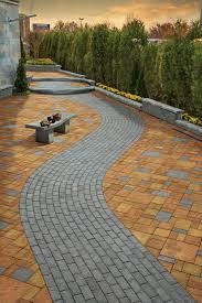 Patio Paver Ideas Pinterest by Cambridge Pavers Grey Brick Stone Path Set In Contrasting Patio