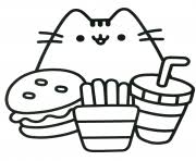 Pusheen Ready To Eat Food Coloring Pages