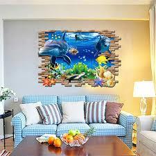 unterwasser fisch 3d wandaufkleber für kinderzimmer diy pvc aufkleber wandtattoos badezimmer wohnzimmer schlafzimmer dekoration