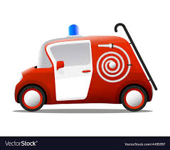 Mini Cartoon Red Fire Truck Firefighter Royalty Free Vector