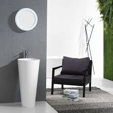 18 Inch Pedestal Sink by Buy Vetto Free Standing Solid Surface Resin Tone Modern Pedestal
