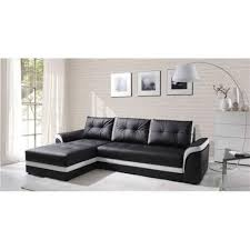 canape d angle noir et blanc canapé d angle convertible dumno noir et blanc angle gauche achat