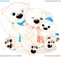 clipart of a cute hugging polar bear family wearing scarves